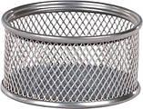 Подставка для скрепок круглая, металлическая серебро, фото 2