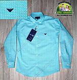 Праздничный комплект для мальчика бирюзовая рубашка Armani и бордовые брюки Polo, фото 3