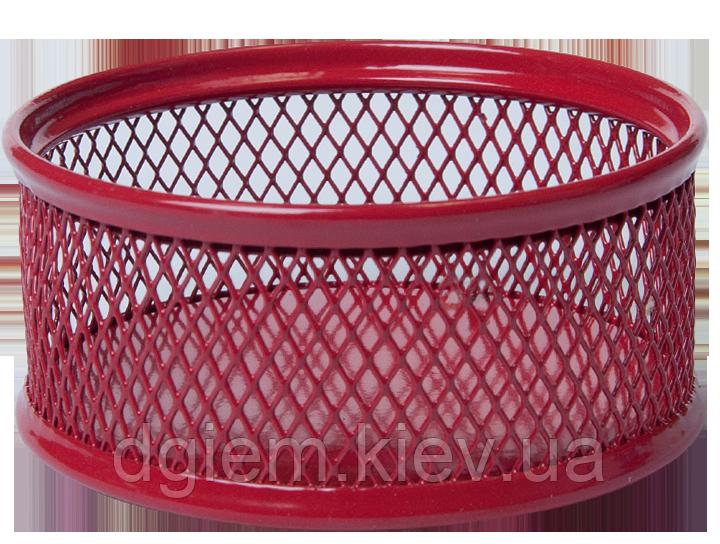 Подставка для скрепок круглая, металлическая красная