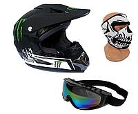 Мотоциклетный шлем MONSTER ENERGY r.M + маска + очки