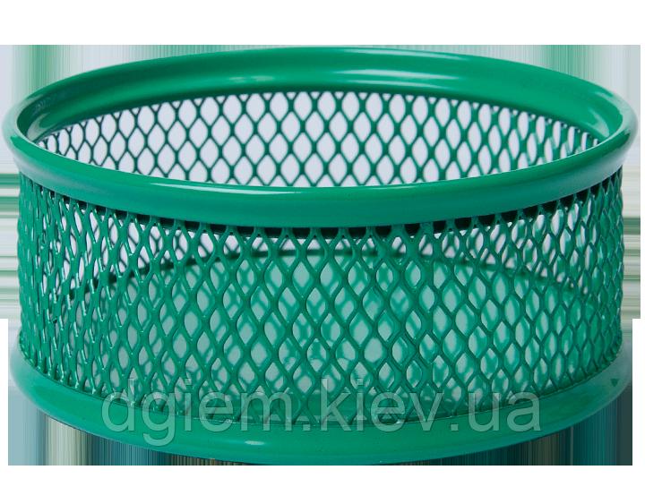 Подставка для скрепок круглая, металлическая зеленая