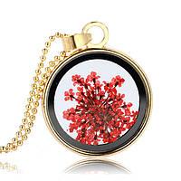 Молодежный кулон для девушки с красными засушеными цветами!, фото 1