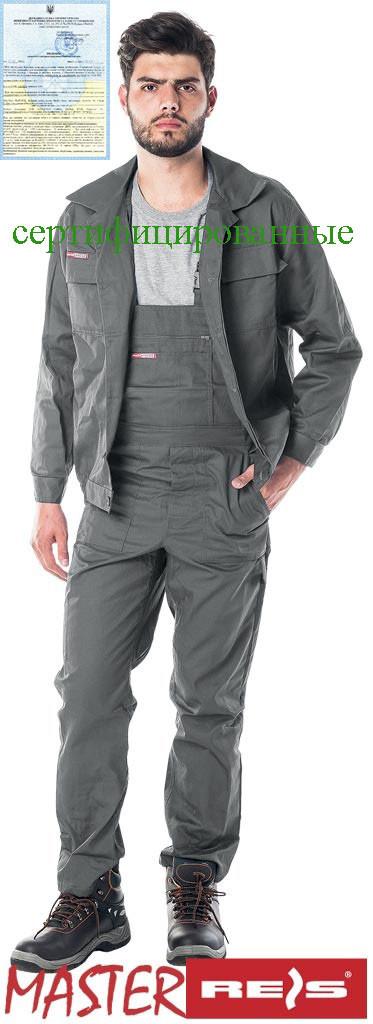 Костюм рабочий серый RAWPOL REIS Польша (комплект роба полукомбинезон и куртка рабочая) UM S