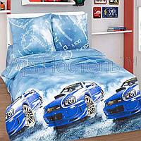 Подростковое полуторное постельное белье с простыней на резинке (1наволочка), Форсаж, поплин