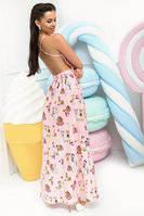 2b8b5f1e045995b Женское летнее нежно-розовое платье в пол с открытой спиной (42-46р.
