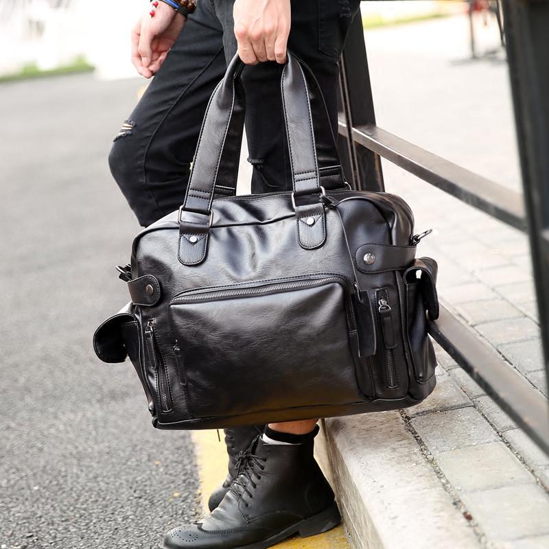 Мужская кожаная сумка спортивного стиля. Модель 04182