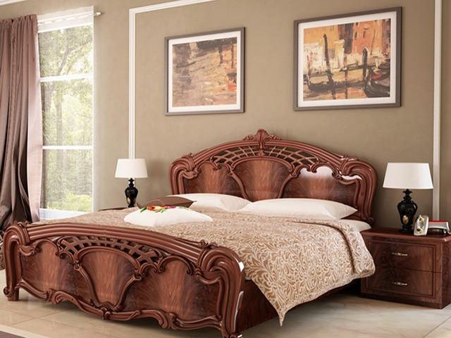 Ліжко з ДСП/МДФ в спальню горіх Олімпія 1,6х2,0 підйомне з каркасом Миро-Марк