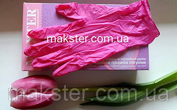 Перчатки нитриловые неопудренные розовые MAXTER , фото 2