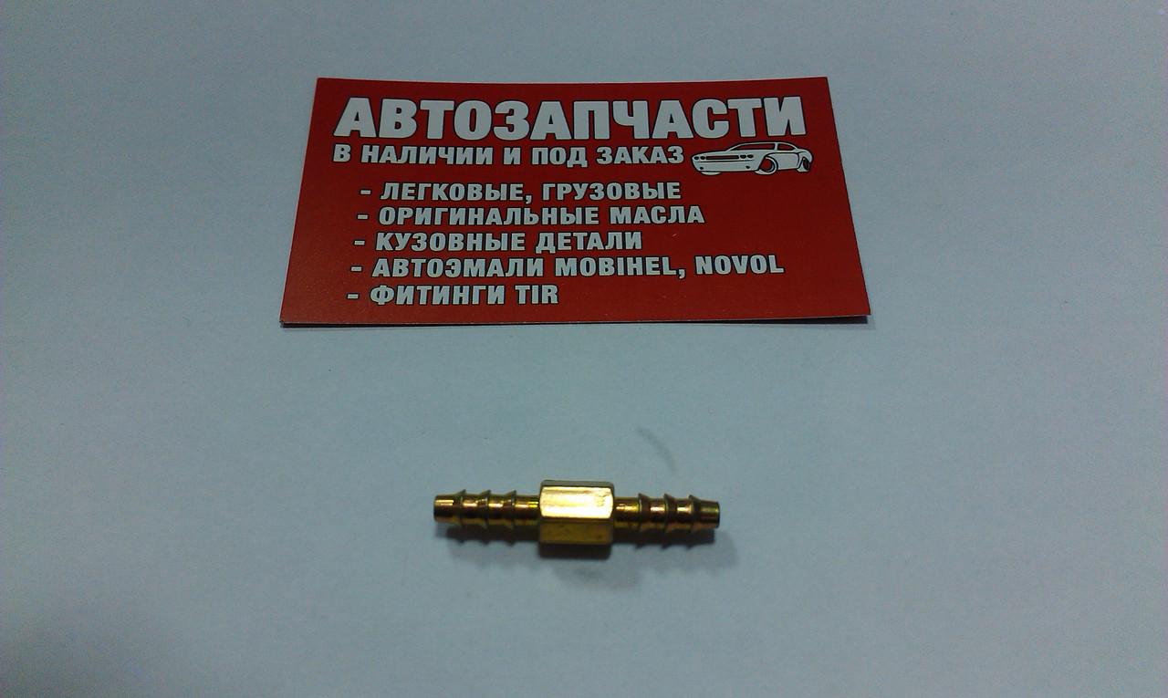 Соединитель шланга, трубки пластиковой Д=4 металлический