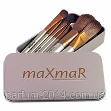 Набір пензликів для макіяжу в металевому футлярі (8 інструментів) Silve MB-209