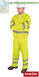 Комплект со светоотражающими полосами рабочий желтый REIS Польша (рабочая сигнальная одежда) UL Y