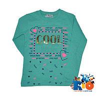 """Детский батник """"Cool"""", из трикотажа c 3D принтом, для девочек 5-8 лет (4 ед в уп)"""