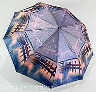 """Зонтик женский полуавтомат """"пейзаж"""" сатин от фирмы """"Calm Rain"""", фото 1"""