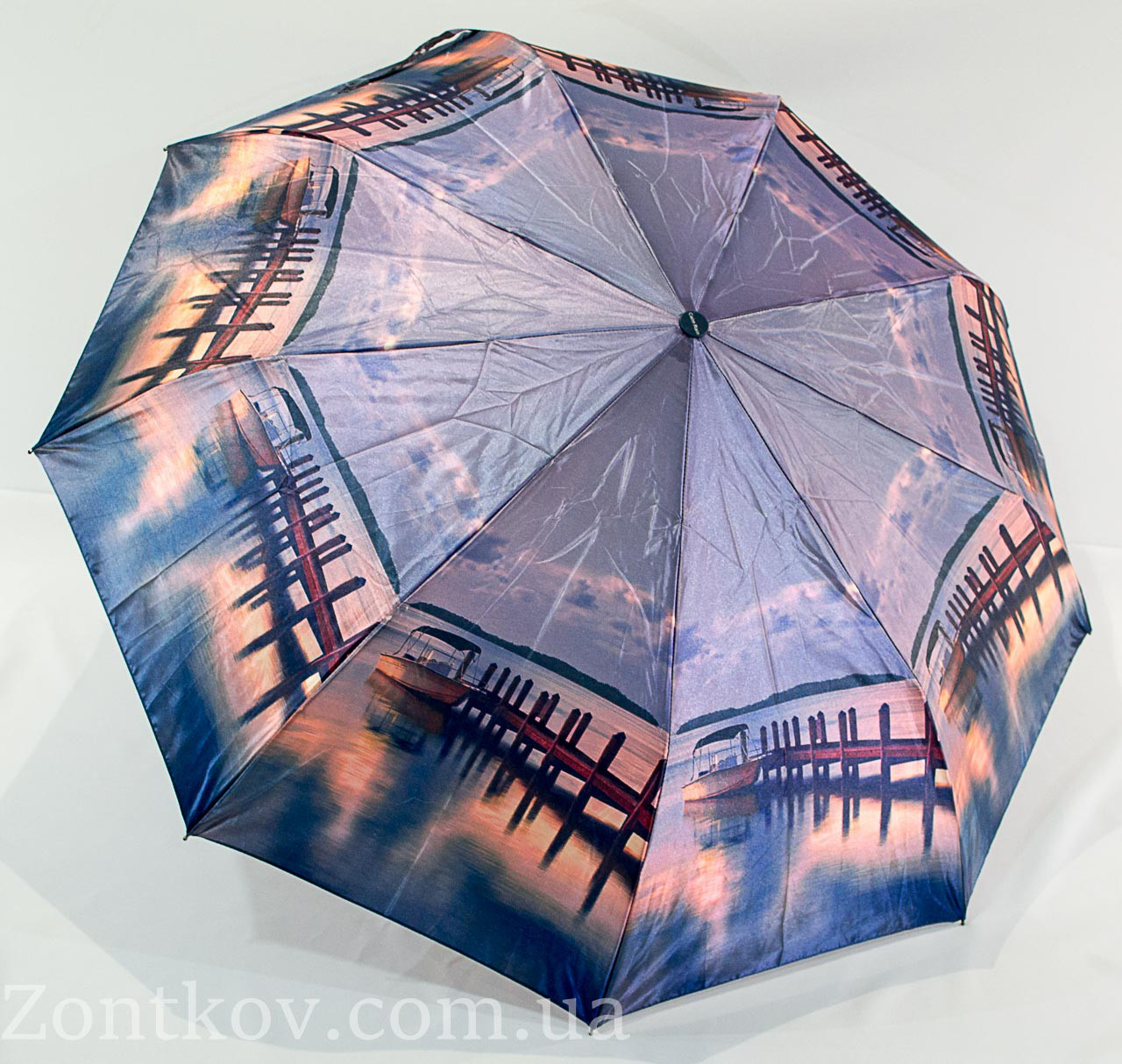 "Зонтик женский полуавтомат ""пейзаж"" сатин от фирмы ""Calm Rain"""