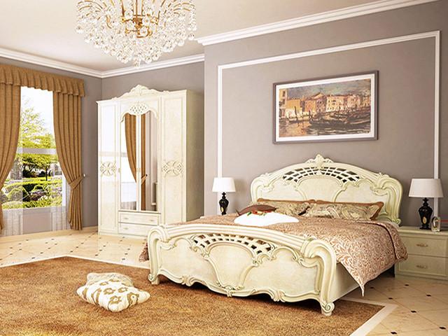 Ліжко з ДСП/МДФ в спальню беж Олімпія 1,8х2,0 з каркасом Миро-Марк