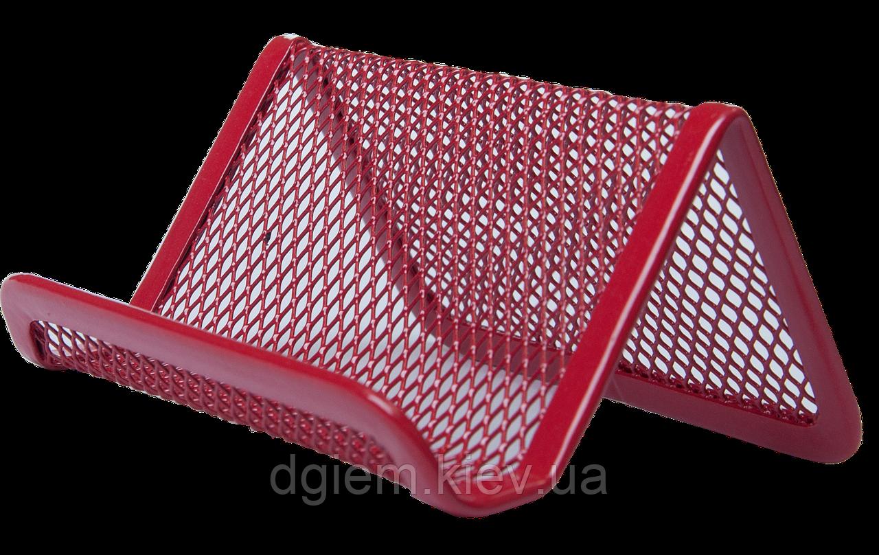 Подставка для визиток BUROMAX металлическая красная