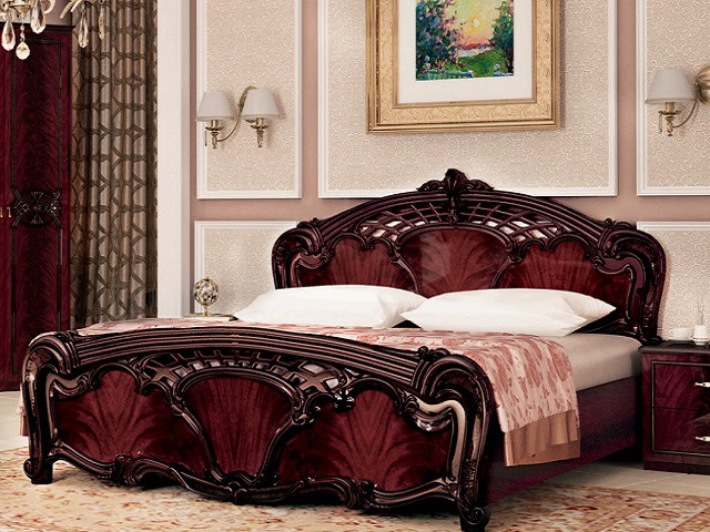 Ліжко з ДСП/МДФ в спальню рубіно Олімпія 1,8х2,0 з каркасом Миро-Марк
