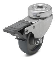 Колесо с поворотным кронштейном с отверстием и тормозом, диаметр 100 мм, нагрузка 75 кг