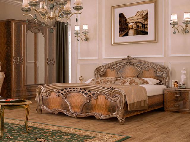 Ліжко з ДСП/МДФ в спальню горіх Олімпія 1,8х2,0 підйомне з каркасом Миро-Марк