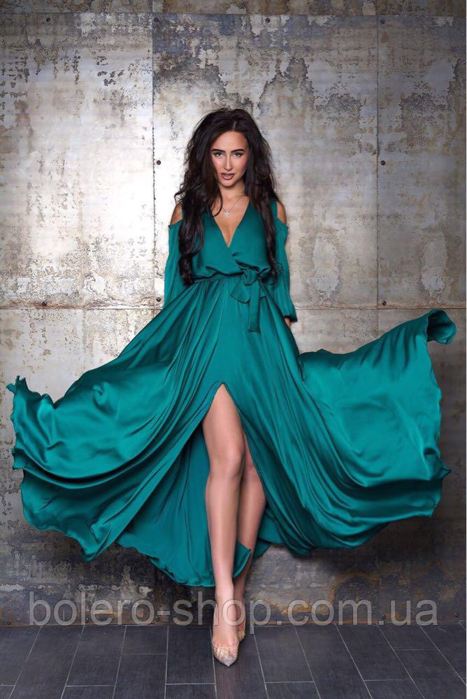 Женское вечерние платье макси шелк