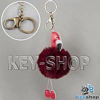 Бордовый пушистый меховой брелок фламинго, на сумку, рюкзак с кольцом и карабином