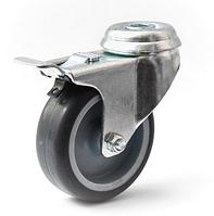 Колесо с поворотным кронштейном с отверстием и тормозом, диаметр 75 мм, нагрузка 50 кг