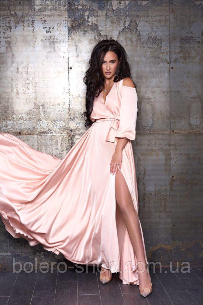 Женское вечерние платье макси шелк пудра