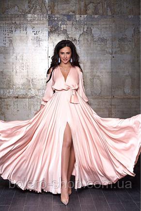 Женское вечерние платье макси шелк пудра, фото 2