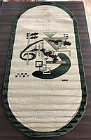 Зеленые синтетические овальные ковры