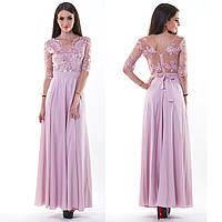 """Розовое выпускное, вечернее платье в пол с разрезом """"Шарлота"""""""