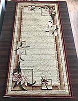 Бежево-красный прямоугольный ковер с цветами, фото 1
