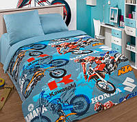 Подростковое полуторное постельное белье с простыней на резинке (1наволочка), Мотокросс, поплин