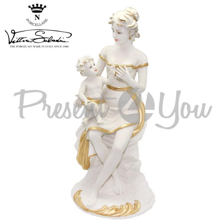 Фигурка-статуэтка фарфоровая, ручная работа Италия «Мама с ребенком» Sabadin, h-37 см (41072s)
