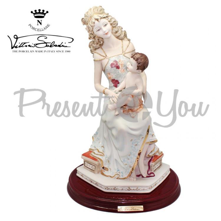 Фигурrа фарфоровая,ручная работа  Италия «Мама и дитя» Sabadin, h-40 см (2104Ls)