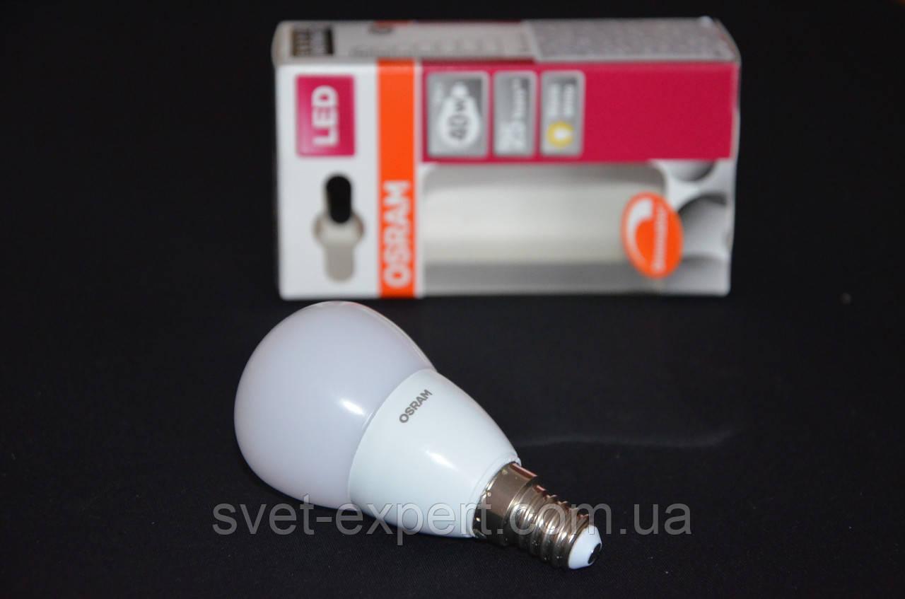 Лампа OSRAM SUPERSTAR CLP40AD 6W /827 220-240V Е14 , диммируемая, теплый белый, матовая колба