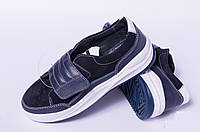 Подростковые кеды на липучке, детская кожаная обувь от производителя модель ДЖ1333