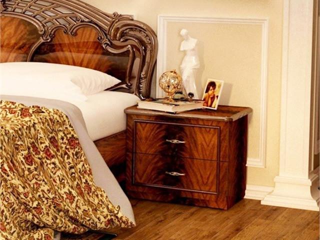 Тумбочка приліжкова з ДСП/МДФ в спальню горіх Олімпія 2Ш Миро-Марк
