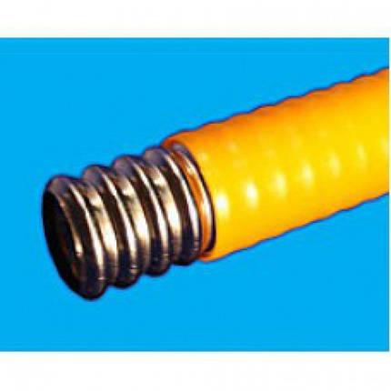 Труба GofraFlex гофрированная нержавеющая под фитинги 15ПМ(ж) отож. с полиэтил. покр. желтая, фото 2