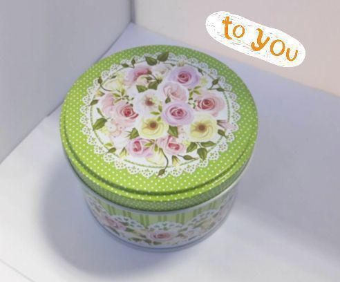 Жестяная банка для конфет Роза мятная, 99*68мм