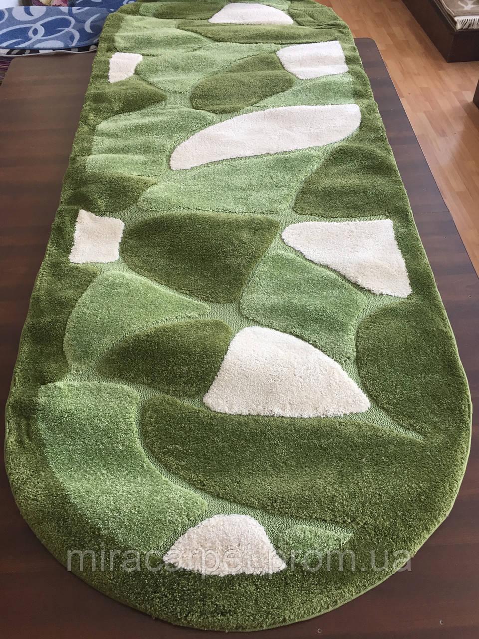 Ворсистый зеленый овальный ковер для дома