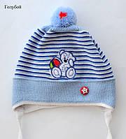 Детская шапка для малышей с помпоном, фото 1