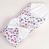 Хлопковое конверт - одеяло демисезонное BabySoon Мой морячок 80 х 85см, фото 1