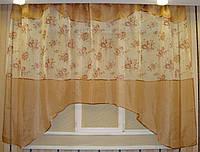 """Кухонная тюль аркой 3 м """"Анна"""" шифон беж в стиле прованс, фото 1"""