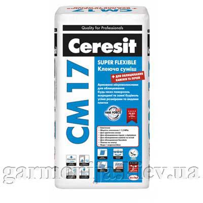 Клей для плитки эластичный Ceresit CM 17 Super Flexible, 25 кг