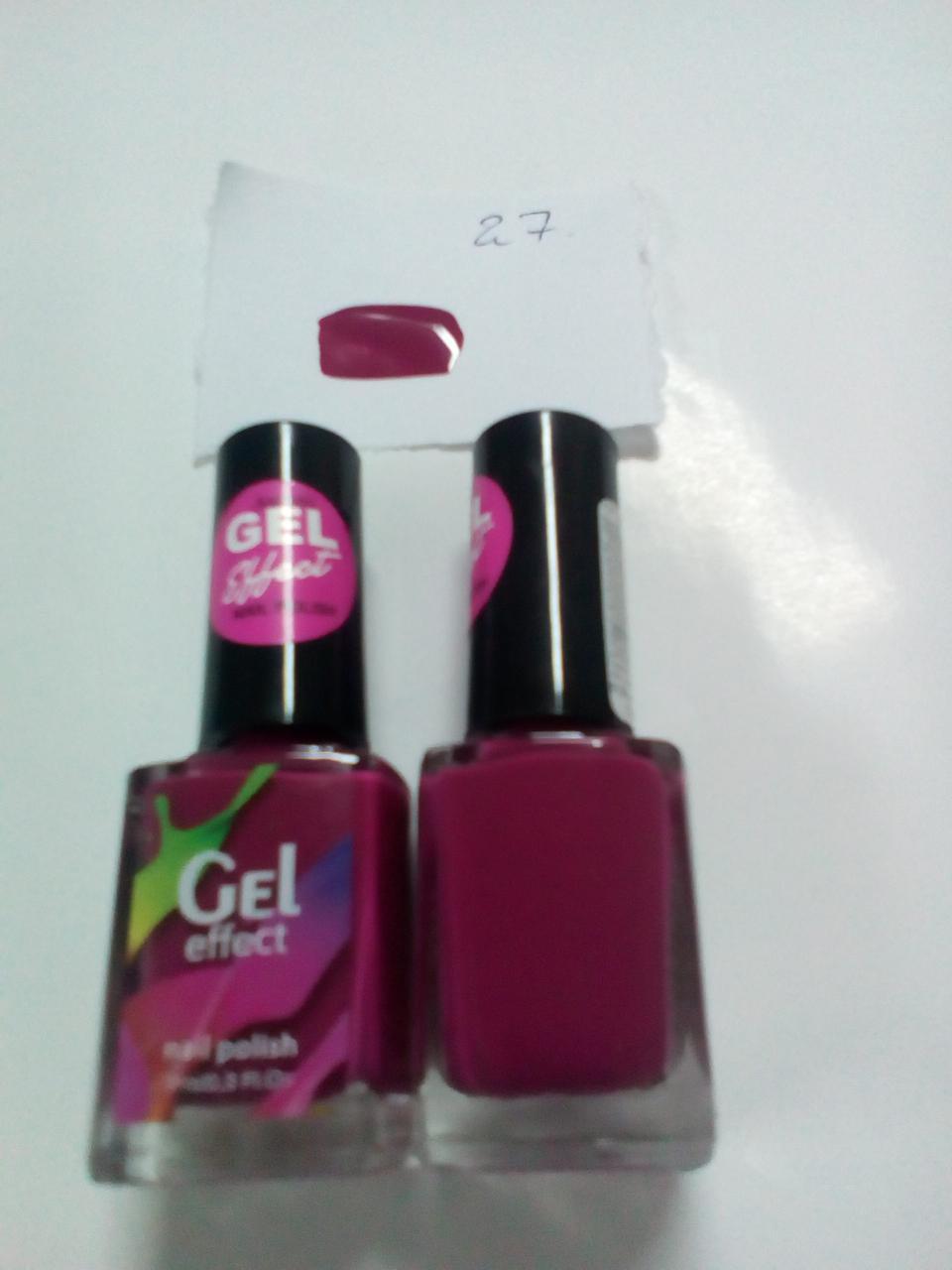 Лак для ногтей Jerden Gel Effect № 27 (красно-рубиновый (винный оттенок) (10мл)