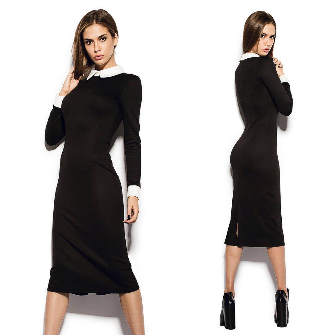 450d466924ac Платье футляр черного цвета с белым воротником на стойке и манжетами