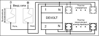 Цифровое реле напряжения DEVOLT 40А с тепловой защитой  и усиленным клемником, фото 2