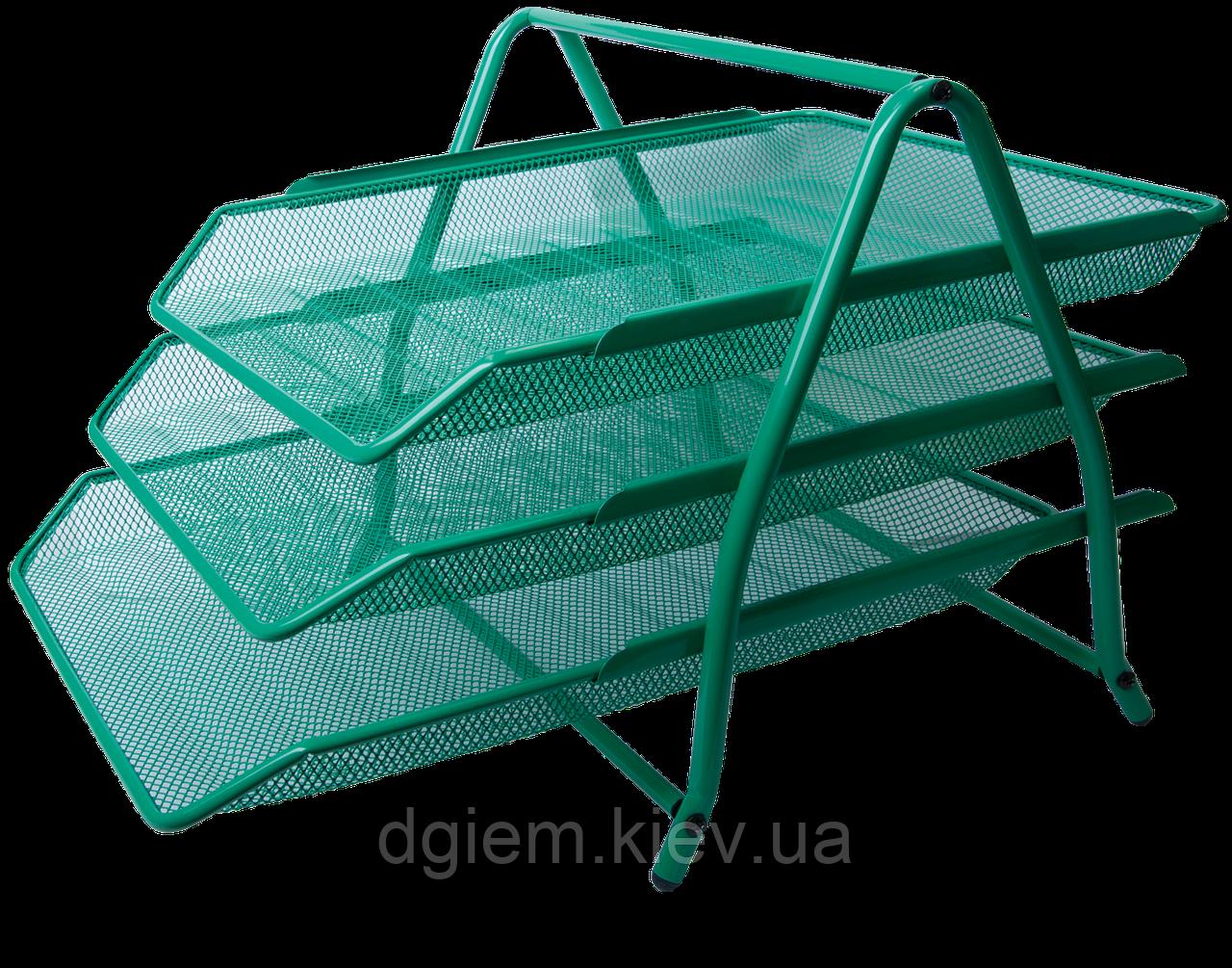 Лоток горизонтальний 3-х ярусний металевий зелений