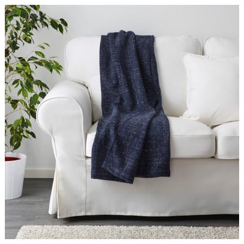 ГУРЛИ Плед, черно-синий, 120x180 см 00326107, IKEA, ИКЕА, GURLI
