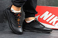 Мужские кроссовки Nike Air Jordan - black, натуральная кожа, подошва - пенка